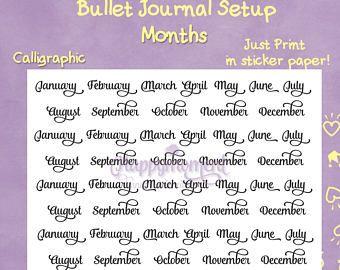 Bullet Journal Setup, Printable Stickers: Months
