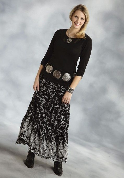 Roper 174 Black Printed Long Maxi Western Skirt Western