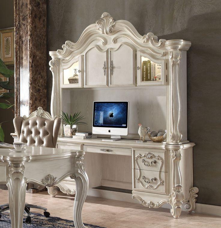 Acme 92278 Versailles Bone White Computer Desk with Hutch