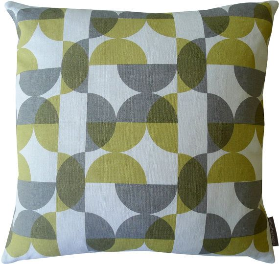 NEW half circles cushion in yellow and grey