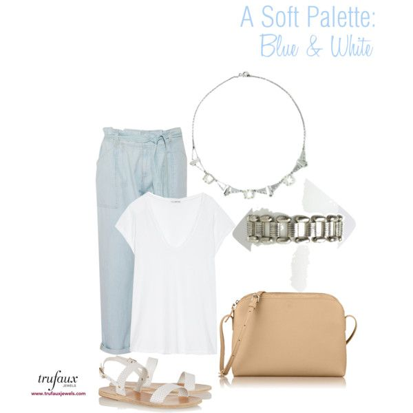 A Soft Palette: Blue & White by trufaux on Polyvore featuring a Clear Crystal & Chrome Chicklet-style German Art Deco Necklace and a Silver German Machine Age Link Ikora Bracelet by WMF, both from TruFaux Jewels.