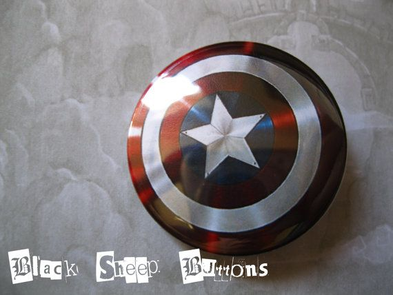 Captain America Sheild Avengers Shield 1.25'' by BlackSheepButtons