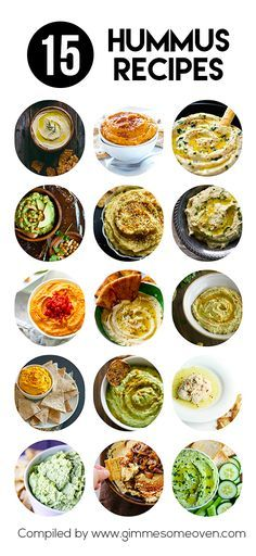 15 Hummus Recipes -- from creative to classic, these creamy dreamy hummus recipes are sure to be crowd favorites!   gimmesomeoven.com