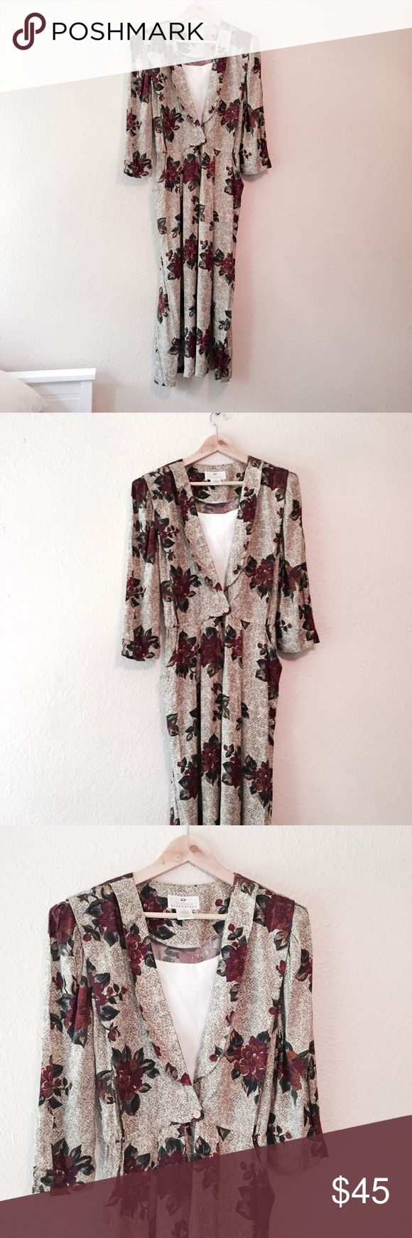 Vintage 1980s rose print maxi dress Gorgeous vintage 1980s dress. Lovely rose print in neutral colors. Maxi dress length with 3/4 long sleeves. Has shoulder pads that can be removed. White bib in the front and pockets on the sides. Has loops for a belt. Worthington Essentials Brand. Excellent vintage condition. Size 12. Vintage Dresses Maxi