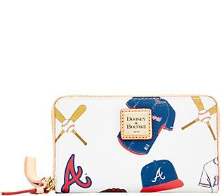 Dooney & Bourke MLB Braves Zip Around Phone Wristlet