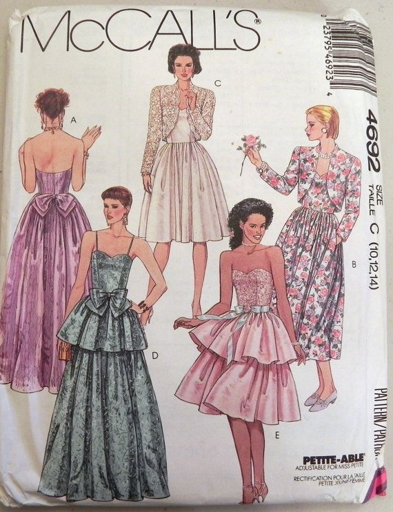 fae348e7d75 1980s Strapless Prom Dress and Bolero Jacket Sewing Pattern McCalls 4692  Size 10-12-14 Bust 32.5-34-36