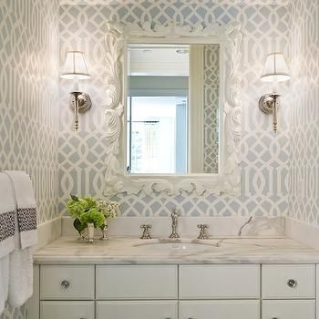 Imperial Trellis Wallpaper, Transitional, bathroom, Graciela Rutkowski Interiors