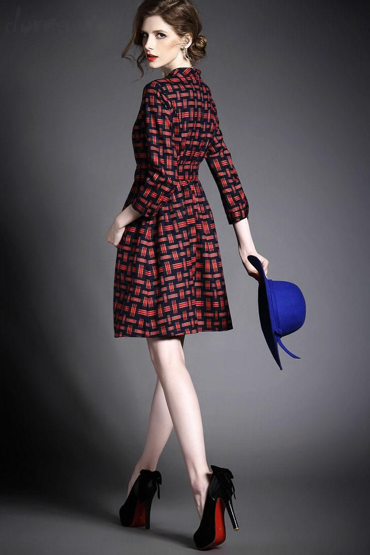 Doresuwe.com SUPPLIES ヨーロッパ2015秋新レディースファッション 気質セレブ七分Aーラインワンピース  デートワンピース (5)