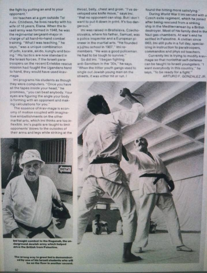 """November 15, 1976 People Magazine Vol. 6. No. 20, pp 91-92: """"It's Called 'Kosher Kungfu' but Imi Lichtenfeld's New Martial Art Is a Deadly Affair"""" By Arturo F. Gonzalez Jr. (Part 2)"""