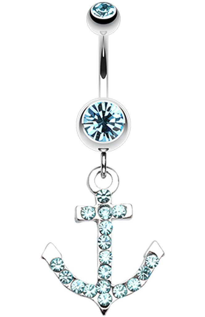 Anchor Glass-Gem Sparkle Belly Button Ring - 14 GA (1.6mm) - Aqua - Sold Individually