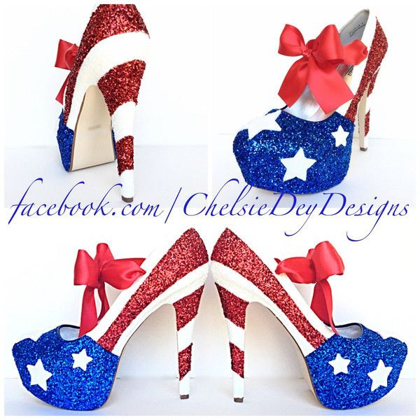 American Flag High Heels Glitter Red White and Blue Miss America Heels... (£87) ❤ liked on Polyvore featuring shoes, pumps, silver, women's shoes, red bow pumps, red glitter pumps, red high heel pumps, red white blue shoes and silver high heel pumps