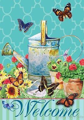Custom Decor Garden Flag Watering Can Butterflies Flowers NEW