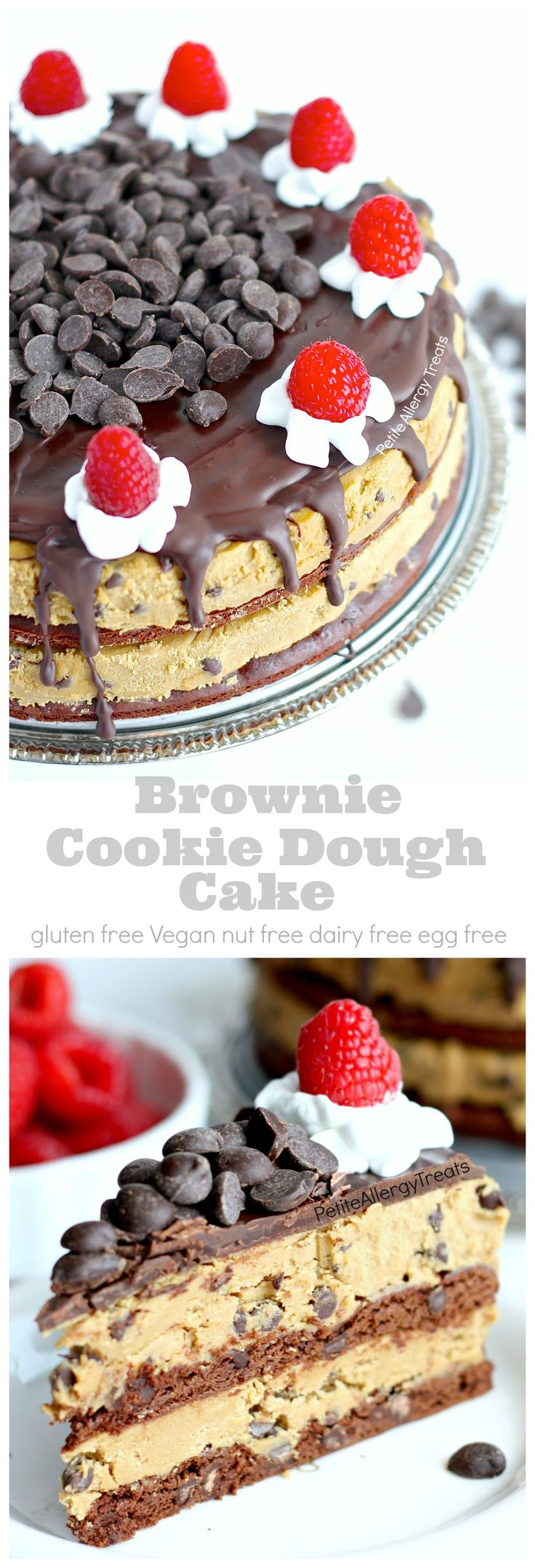 Cookie Dough Brownie Cake (Gluten Free Dairy Free) Recipe- Grab a slice of decadent brownie cookie dough cake! This cake is food allergy friendly too- egg free dairy free nut free soy free and Vegan: