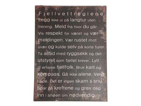 Fjellvettreglene skilt - Hansen & Co