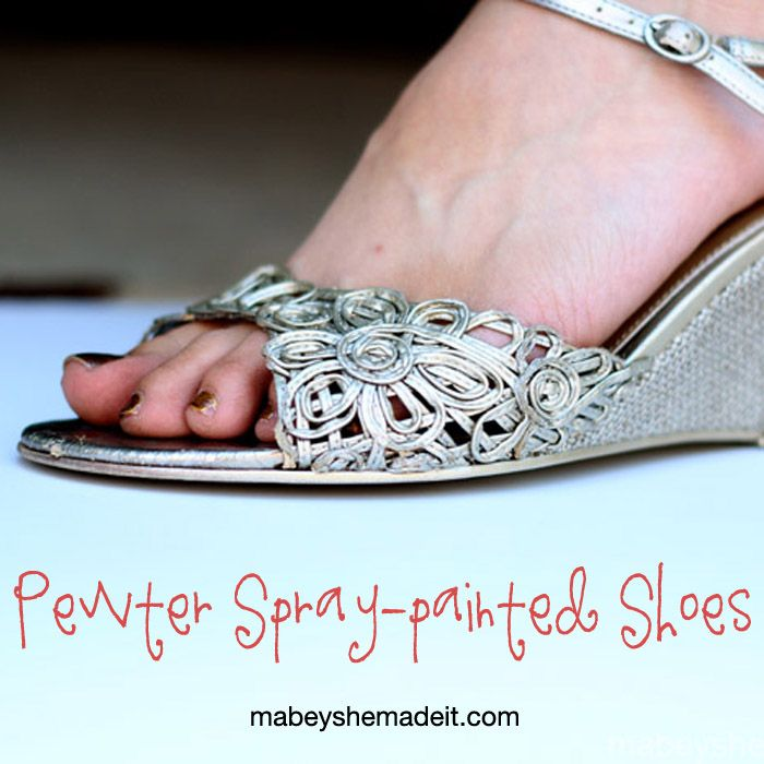 Pewter Spray-Painted Shoes | Mabey She Made It #spraypaint #shoerefashion