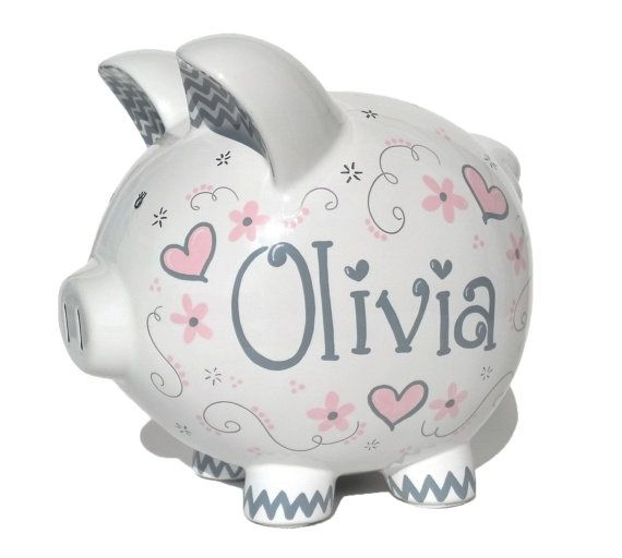 Personalized Piggy Bank  Hand-painted  Elegant by SamselDesigns