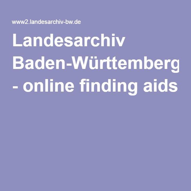 Landesarchiv Baden-Württemberg - online finding aids