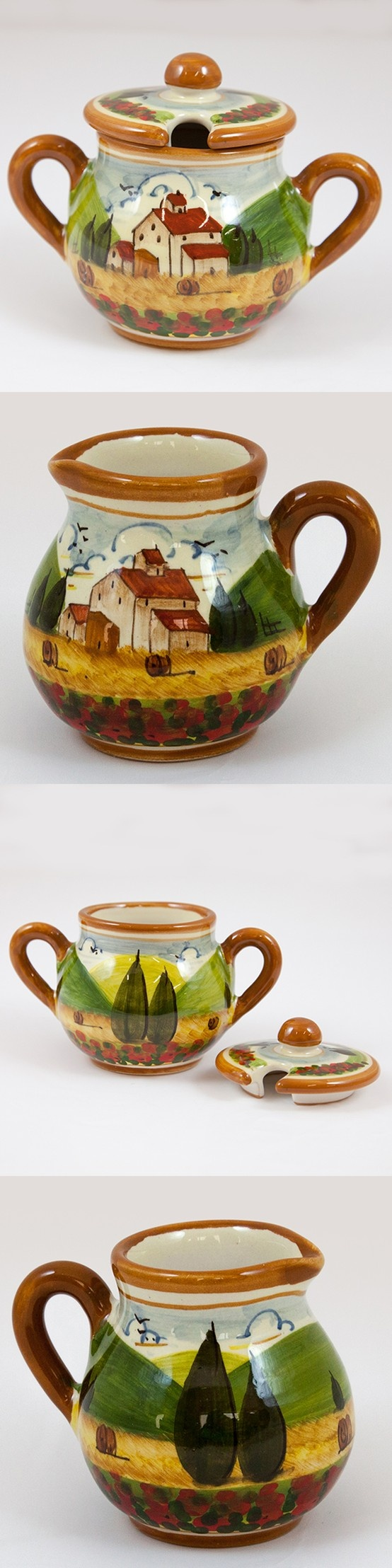 Ceramic sugar bowl ($50.99) and creamer ($38.49) decorated with the Tuscan landscape pattern. Adorned with poppies and evergreens on an earth tone background with a brown border. Hand painted, hand glazed and fired in Tuscany. Follow this link to see all our products in Tuscan Landscape pattern: http://www.pietrafittaimports.com/ceramics.html?design_pattern=279