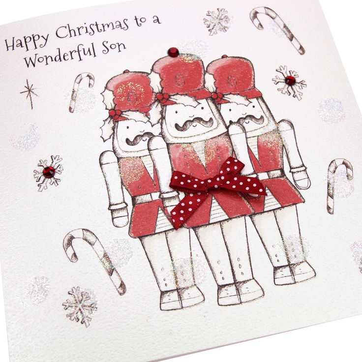 Handmade Christmas Card Soldiers Cute Embossed Red Gems Polka Dot Bow - 'Happy Christmas to a Wonderful Son'