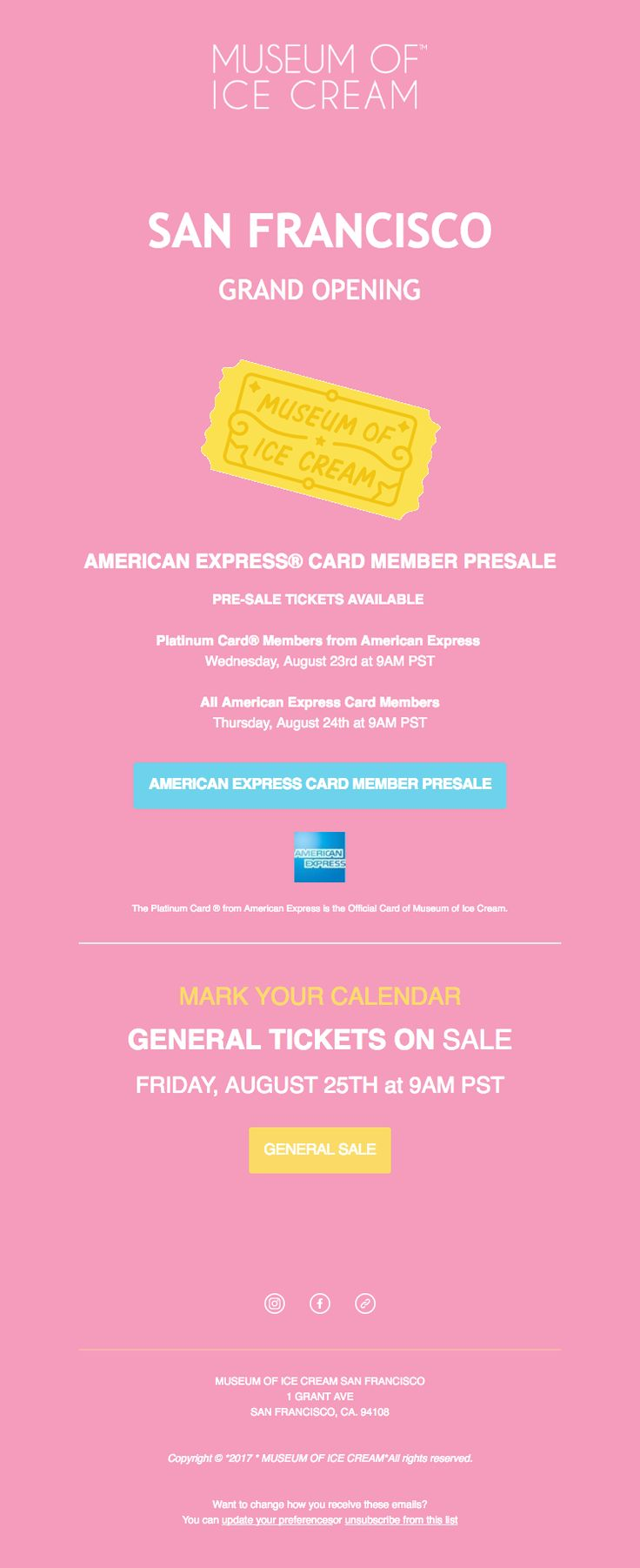 Beautiful email design from the Museum of Ice Cream. See the code here - https://www.kuratedemail.co/email-museum-of-ice-cream