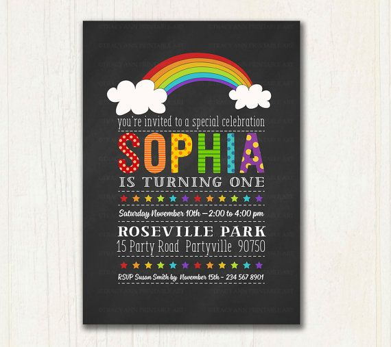 1st Birthday Chalkboard Invitation.  Rainbow by TracyAnnPrintables