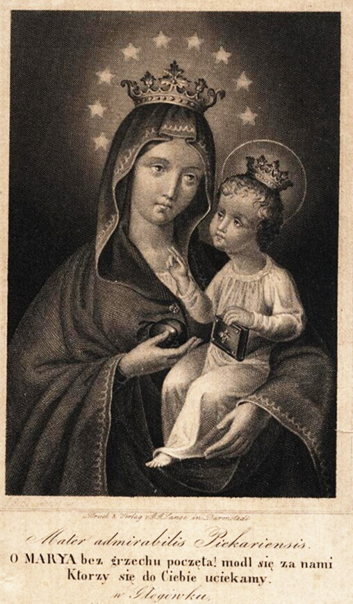 A 19th century engraving of the miraculous image of Mary in Piekary Śląskie…