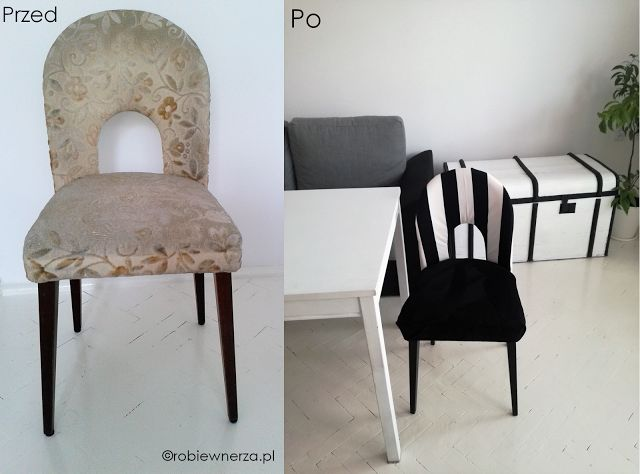 odnawianie krzesła, krzesło tapicerowane DIY, stare krzesło, biało-czarne krzesło, old chair ideas old chair makeover diy fabrics