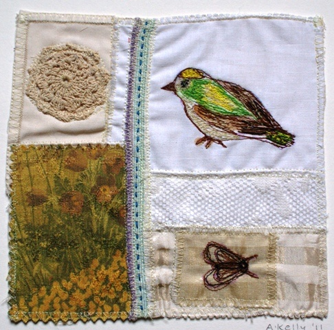 'Bird Embroidery' mixed media textile on upcycled handkerchief from 2010 (sold)