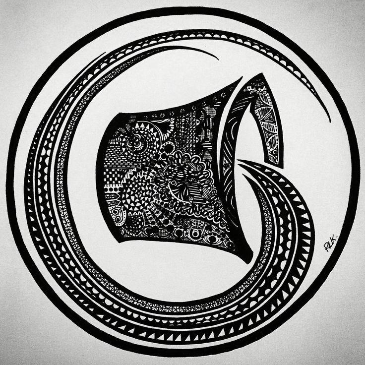 Zentangle Zodiac art - Aquarius,  (Made with a black MICRON pen - different sizes). #PLKdesign