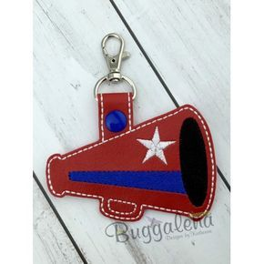 OVERSIZED Megaphone Snap Tab Key Fob Embroidery Design