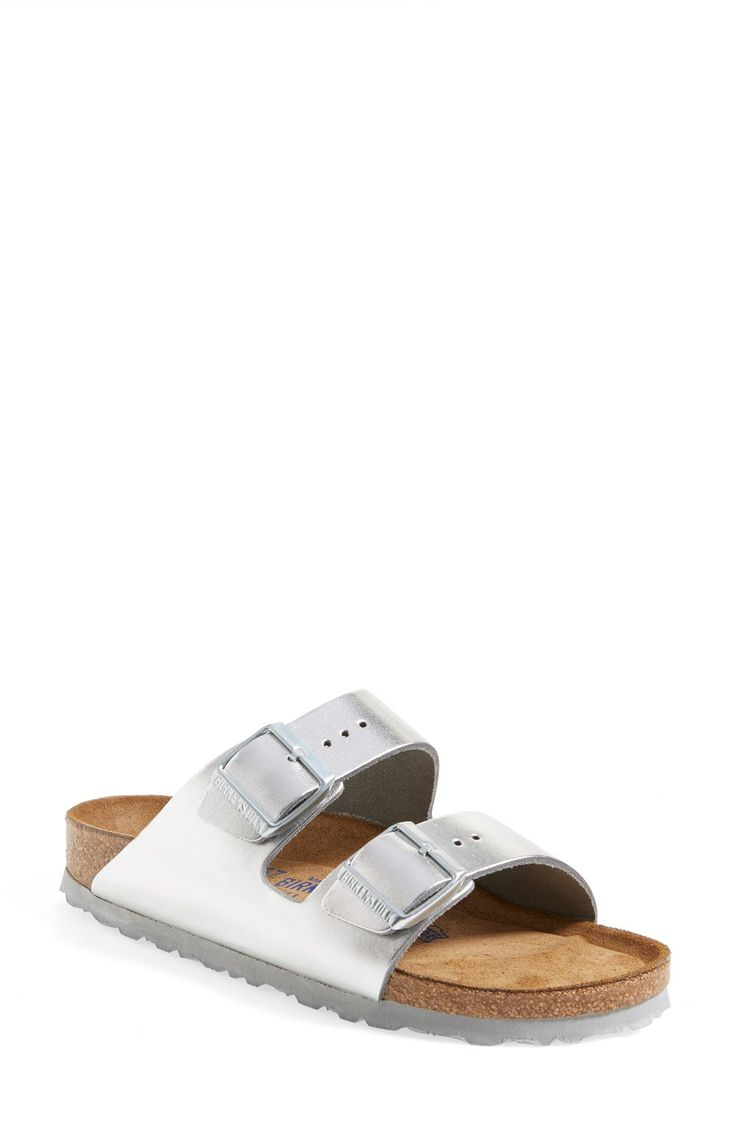 Loving these metallic silver sandals from Birkenstock