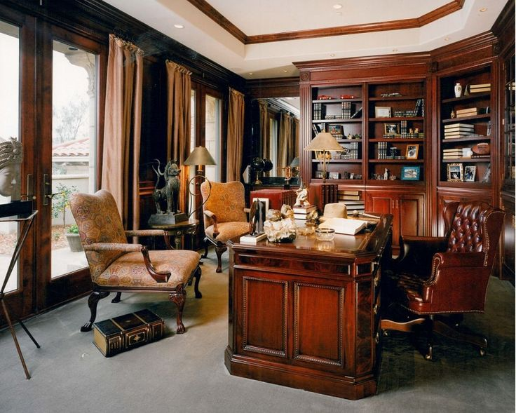 Beautiful old fashioned library and home office design for Beautiful office space design
