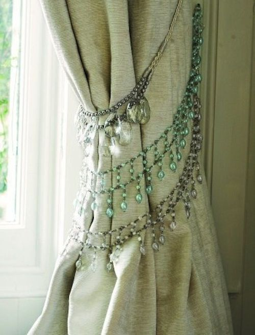 Beaded Curtain Tie Backs. I love top one. I'll use pieces of the old chandelier