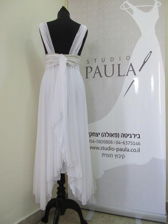 Chiffon Wedding Dress Greek Wedding Dress Romantic by paulastudio