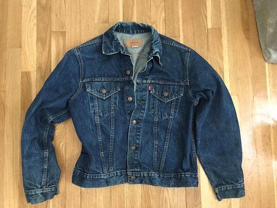Vintage Dark Wash Denim Levi Strauss Trucker Jacket Love The Fade In This Rich Darker Wash Denim Jacket Cou Dark Wash Denim Jacket Denim Jacket Vintage Denim
