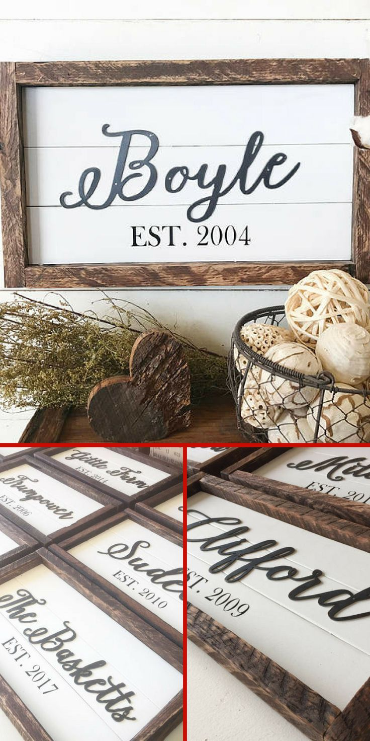 Just what I've been looking for. Love this family established sign cut from metal and attached to white shiplap. #farmhouse #ad #weddinggift #personalized #giftideas