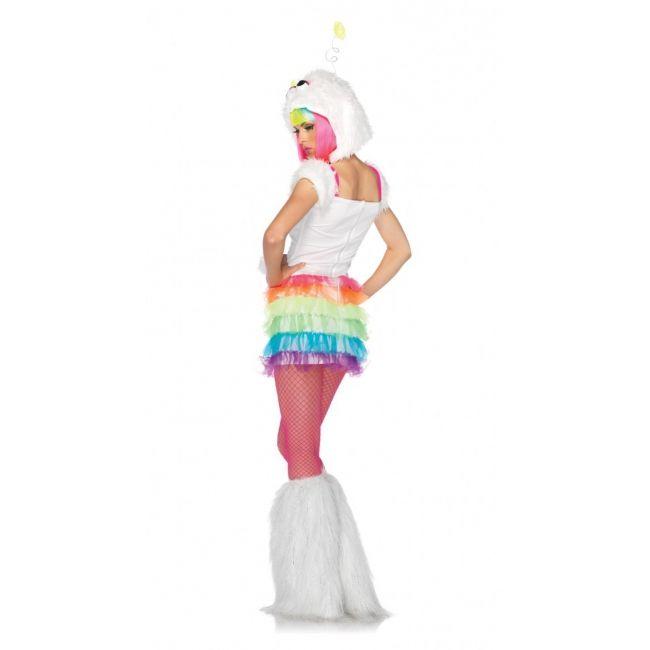 Regenboog monster jurkje voor dames. Vrolijk gekleurd monster of alien kostuum voor dames bestaande uit een regenboog jurkje bontmuts met ster antennes. Luxe kwaliteit.