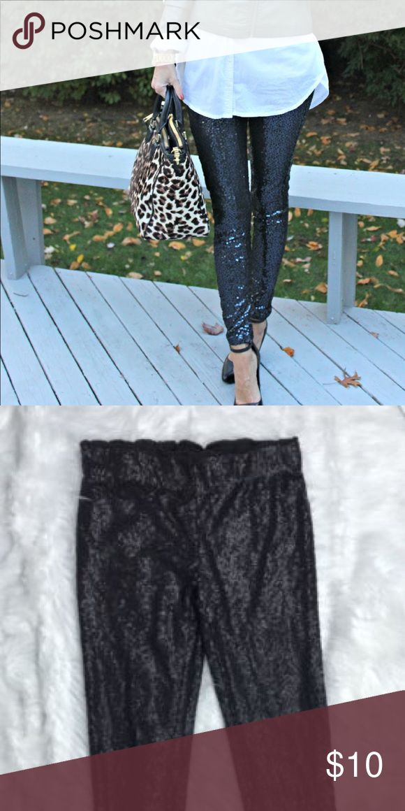 Sequin leggings Black sequin leggings. Worn once. Can be dressed up or down. Great condition. Smoke/pet free home May & July Pants Leggings