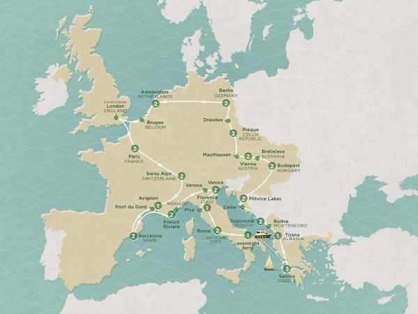 2016 Map of European Adventure tour - ECPTLL
