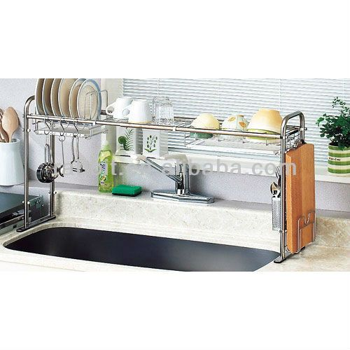 Stainless steel expandable over the sink shelf form and - Over kitchen sink shelf ...
