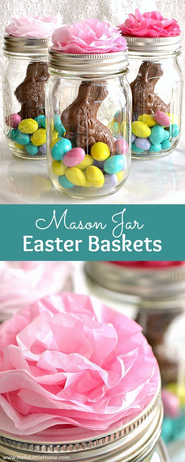 Mason Jar Easter Baskets ... a cute gift idea that takes minutes to make! This fun mason jar craft idea for Easter is the perfect way to decorate a tablescape, give as a favor, or just brighten someone's day! | Hello Little Home #DIYHomeDecorMasonJars