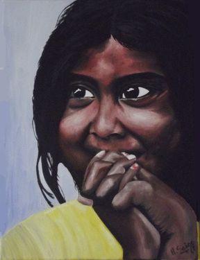 "Saatchi Online Artist Heidi Saigg; Painting, ""Niña Hindu"" #art"
