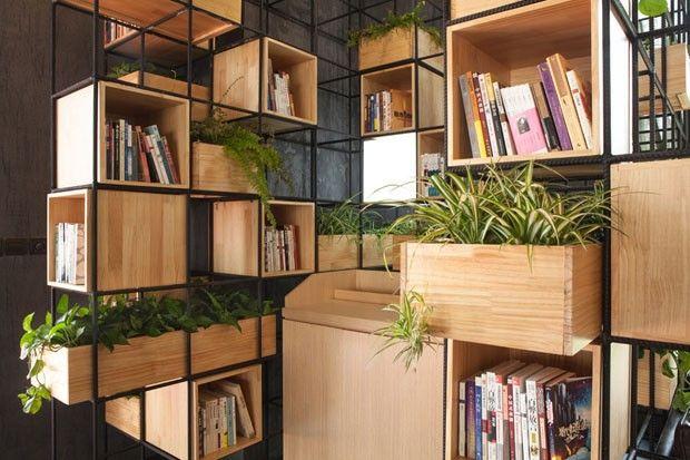 Café com jardim vertical em Pequim (Foto: Divulgação)