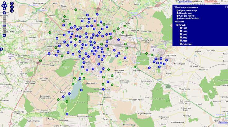 Mapa z naniesionymi wypadkami z udziałem rowerzystów w Lublinie i Świdniku