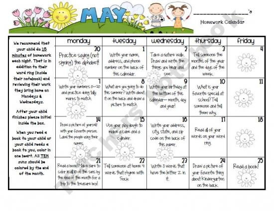 Calendar For Kindergarten : May homework calendar classroom pinterest