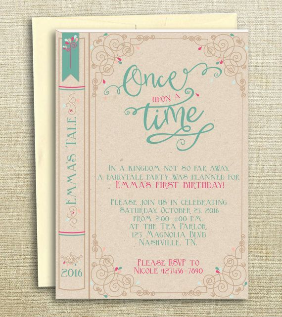 Book Once Upon A Time Fairy Tale Printed/Printable Birthday Party Invitation