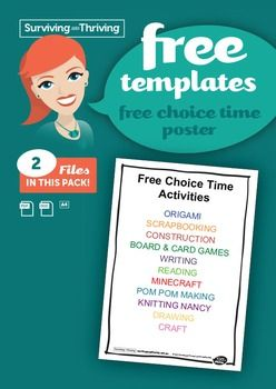 A guideline for appropriate activities for Free Time. Personalise this to suit your classroom situation.