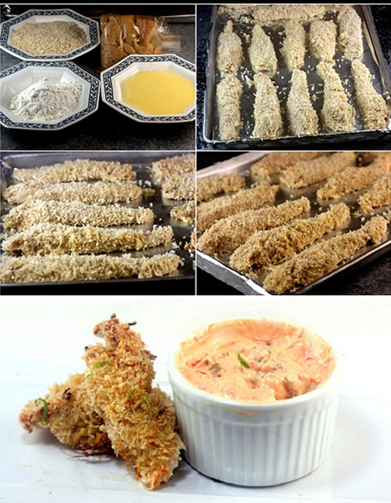 Crunchy Baked Coconut Lime Chicken Strips with Spicy Yogurt Dip