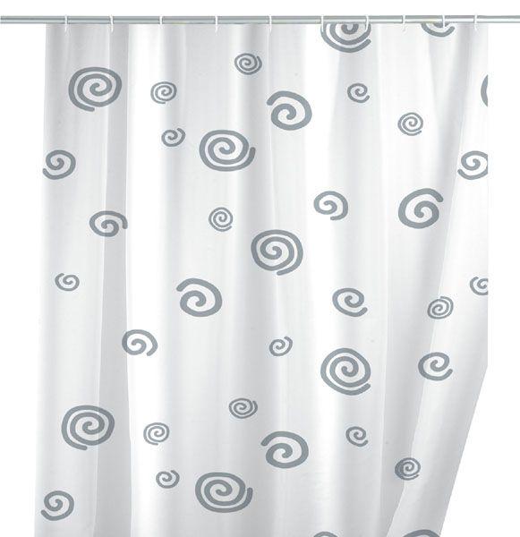 Der moderne Duschvorhang mit den stilisierten Schnecken ist ein schöner Blickfang für das Bad. Er ist aus 100% Polyester und durch eine hochwertige Oberflächen-Veredelung wasserabweisend. Der Duschvorhang ist besonders haltbar und pflegeleicht, denn er ist bei 30°C waschbar. Für € 24,99 bei kloundco.de.