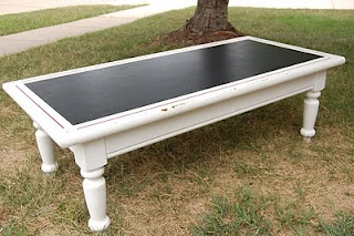 chalkboard coffee table, this wouod be awesome in a toy room for the kids